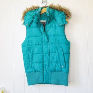 Powder Room Quilted Vest with Faux Fur Trim